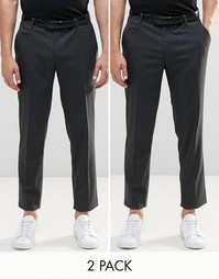 Набор из 2 пар темно-серых суперзауженных брюк ASOS - СКИДКА 17%