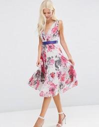 Плиссированное платье миди с цветочным принтом ASOS - Мульти