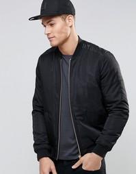 Черная куртка-пилот с отделкой из искусственной кожи ASOS - Черный