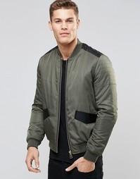 Куртка-пилот цвета хаки с отделкой из искусственной кожи ASOS - Хаки
