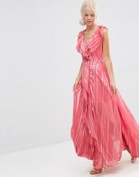 Платье макси в полоску с каскадными рюшами и молнией спереди ASOS