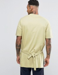 ASOS Oversized T-Shirt With Step Hem And Tie Sides In Grey