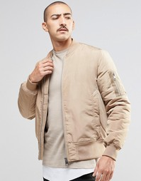 Бежевая куртка-пилот с карманами ASOS MA1 - Кэмел