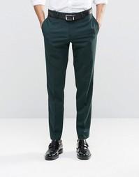 Темно-зеленые брюки узкого кроя из эластичной ткани ASOS - Зеленый