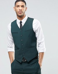 ASOS Slim Waistcoat With Stretch In Dark Green - Зеленый