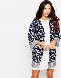 Girls On Film Border Floral Print Jacket - Темно-синий