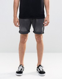 Черные выбеленные джинсовые шорты зауженного кроя ASOS