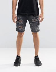 Выбеленные черные джинсовые шорты с прорехами ASOS - Выбеленный черный