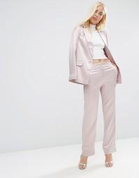 Атласные пижамные брюки с окантовкой ASOS - Blush
