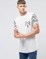 Длинная футболка с ацтекским принтом на рукавах и кармане ASOS