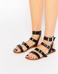 Кожаные сандалии-гладиаторы ASOS FRANKFURT - Черная кожа