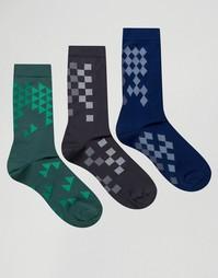 3 пары строгих носков с геометрическим узором ASOS - Мульти