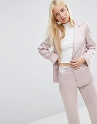 Атласный пижамный топ с окантовкой ASOS - Blush
