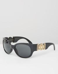 Квадратные солнцезащитные очки с логотипом-медузой на дужках Versace
