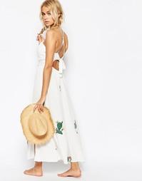 Платье с принтом и завязкой Wildfox - Чисто-белый