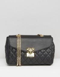 Стеганая сумка на плечо с ремешком на цепочке Love Moschino - Черный