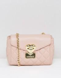 Небольшая стеганая сумка на плечо Love Moschino - Розовый