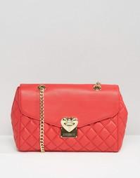 Стеганая сумка на плечо с ремешком на цепочке Love Moschino - Красный