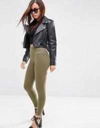 Облегающие брюки с декоративной строчкой и молниями ASOS - Хаки