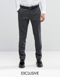 Супероблегающие строгие брюки из ткани в елочку Noak - Угольный