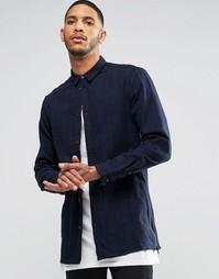 Удлиненная рубашка в клетку с длинными рукавами Religion Blaze - Синий