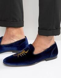 Вельветовые лоферы с вышивкой ASOS - Темно-синий