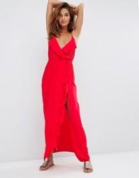 Пляжное платье макси с оборками и запахом ASOS - Красный