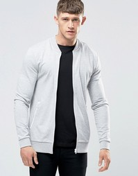 ASOS Muscle Fit Jersey Bomber Jacket With White Zips - Серый меланж
