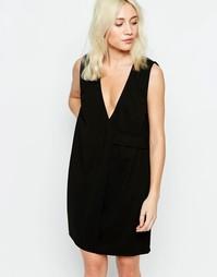 Платье с запахом Neon Rose - Черный