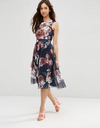 Платье миди с сетчатой юбкой и цветочным принтом ASOS - Цветочный