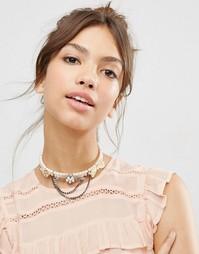 ASOS Vintage Faux Pearl Choker Necklace - Кремовый