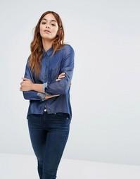 Джинсовая рубашка с асимметричным краем Noisy May - Темно-синий джинс