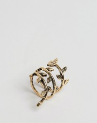 Кольцо с отделкой в виде виноградной лозы ASOS - Античный золотой