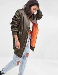 Длинная атласная куртка-пилот эксклюзивно для Boohoo - Sage green ex