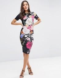 Платье-футболка с цветочным принтом ASOS - Темный цветочный