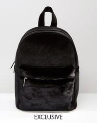 Эксклюзивный бархатный рюкзак с искусственным мехом Skinnydip - Черный