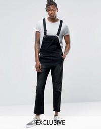 Выбеленный черный джинсовый комбинезон Liquor & Poker - Черный