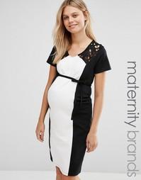 Платье с контрастной вставкой и кружевом Mamalicious - Мульти Mama.Licious
