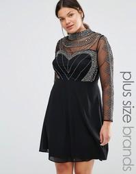 Платье мини с длинными рукавами и высоким воротом Lovedrobe - Черный