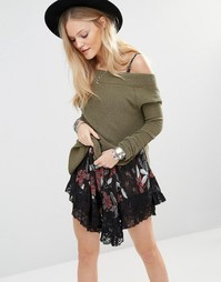 Free People Kate Thermal Off Shoulder Jumper - Зеленый 3300