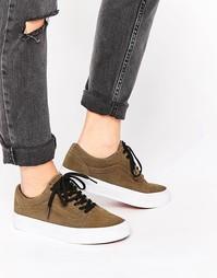 Замшевые кроссовки цвета хаки с перфорацией Vans Old Skool
