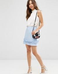 ASOS Linen Mini Skirt With Ruffle Hem - Синий