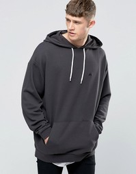 ASOS Oversized Hoodie With Embroidery In Washed Black