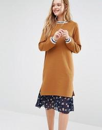 Платье-джемпер с цветочным принтом на юбке I Love Friday - Горчичный