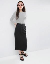 Юбка в винтажном стиле из черного выбеленного денима ASOS - Черный