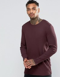 ASOS Rib Longline Muscle Long Sleeve T-Shirt In Oxblood