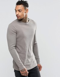 ASOS Rib Longline Muscle Long Sleeve T-Shirt In Grey - Серый