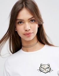 Ожерелье-чокер из двойного шнурка ASOS - Хаки