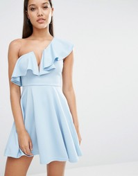 Приталенное платье Rare London - Голубой лед