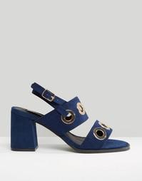 Темно-синие сандалии на среднем каблуке с отделкой люверсами Lost Ink